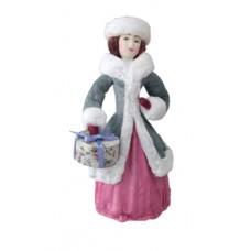"""Коробка с ватной игрушкой """"Дама с подарком"""""""